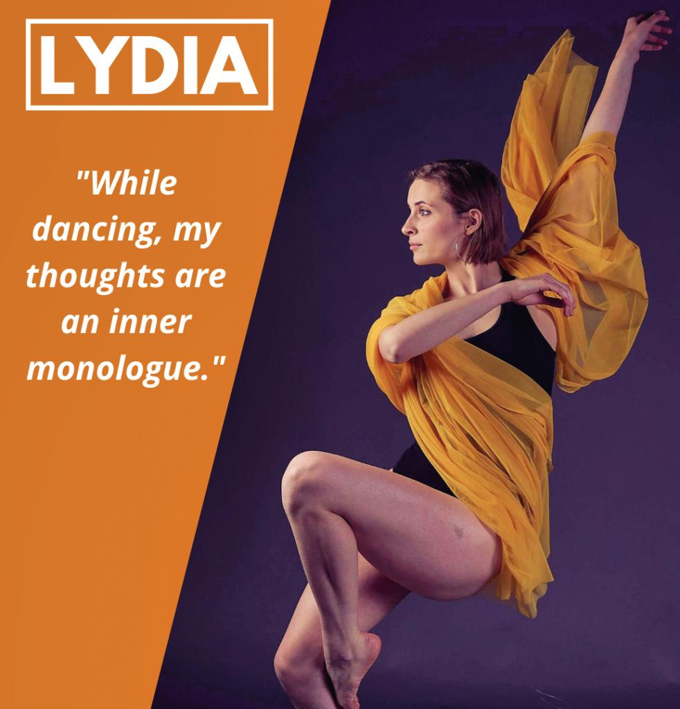 Photograph of Lydia Kelly dancing.